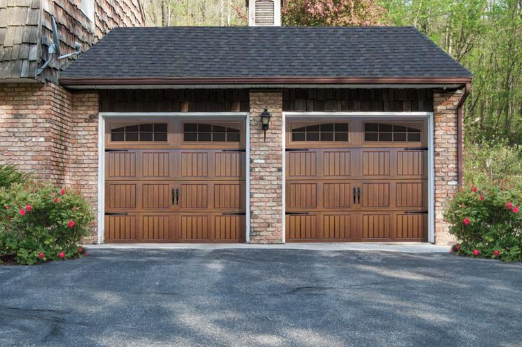 garage with 2 brown colour doors