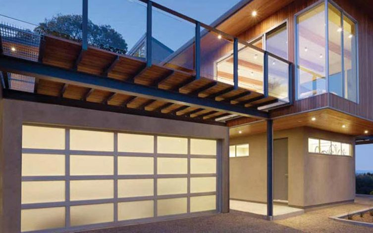 view of a glass garage door in a house