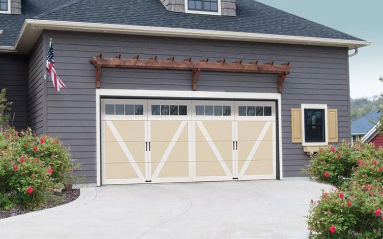 garage door with white and cream colour combination