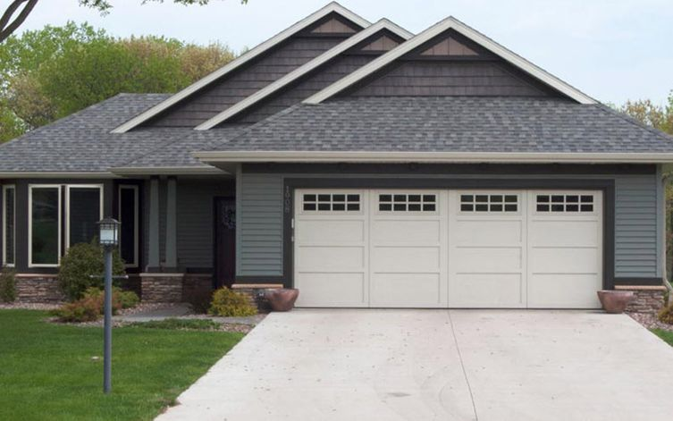 view of a white garage door in a house